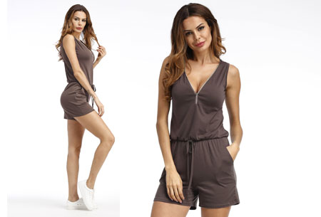 Jogging playsuit | Comfortabele zomerse onepiece Khaki