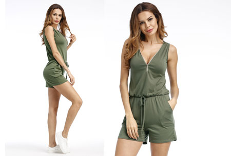 Jogging playsuit | Comfortabele zomerse onepiece Groen