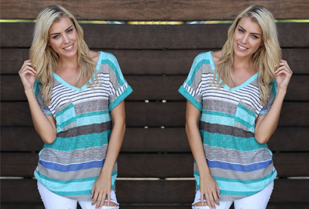 Summer striped top - Korte mouw - Blauw - Maat 2XL