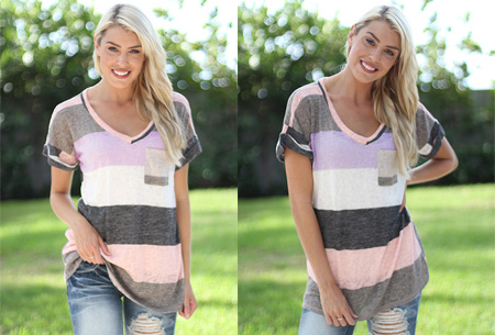 Summer striped top | Comfortabele top met lange of korte mouw  Grijs