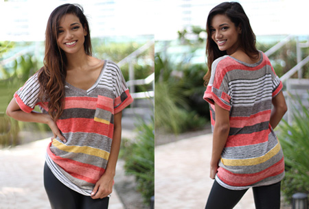 Summer striped top | Comfortabele top met lange of korte mouw  Oranje