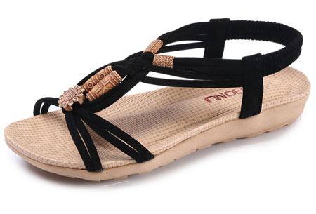 Stylish Boho slippers met comfortabel voetbed | Voor een zomerse bohemian look! Zwart
