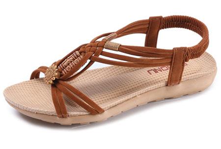 Stylish Boho slippers met comfortabel voetbed | Voor een zomerse bohemian look! Bruin