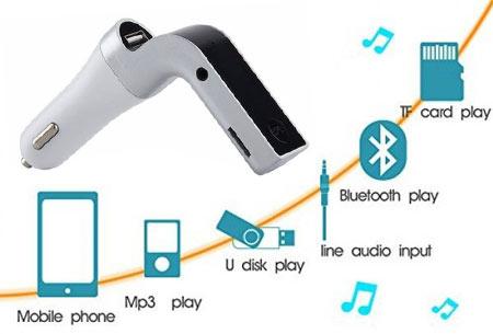 Bluetooth carkit 4-in-1 | Handsfree bellen, fm ontvanger, mp3-speler en oplader in één