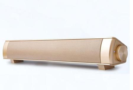 Draadloze Bluetooth soundbar speaker | Voor een vol en diep basgeluid  Goudkleurig