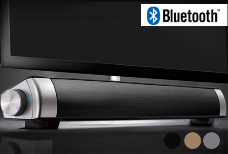 Draadloze Bluetooth soundbar speaker in de sale <br/>EUR 34.99 <br/> <a href='https://tc.tradetracker.net/?c=24550&m=1018060&a=230468&u=https%3A%2F%2Fwww.vouchervandaag.nl%2FBluetooth-Draadloze-Soundbar-geluidskwaliteit-surround-systeem' target='_blank'>bekijk product</a>