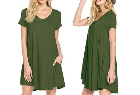 Stylish joggingjurk   Shop deze comfortabele jurk nu extra goedkoop Legergroen