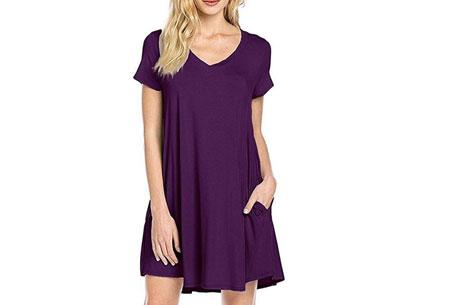 Stylish joggingjurk   Shop deze comfortabele jurk nu extra goedkoop Paars