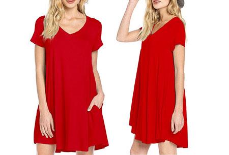Stylish joggingjurk   Shop deze comfortabele jurk nu extra goedkoop Rood