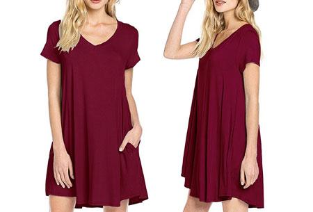 Stylish joggingjurk   Shop deze comfortabele jurk nu extra goedkoop Wijnrood