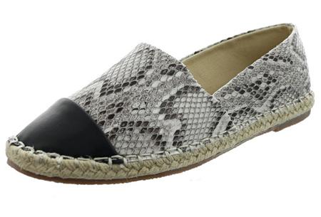 Espadrilles in leather, suède of snake look & diverse kleuren | Shop ze nu voor een bodemprijs! beige snake