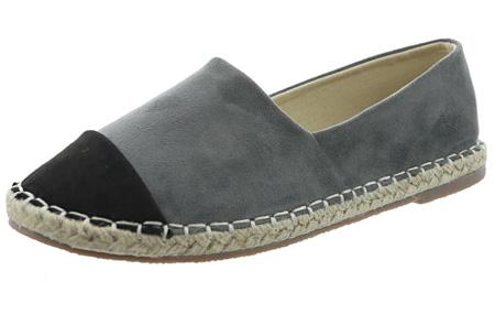 Espadrilles in leather, suède of snake look & diverse kleuren | Shop ze nu voor een bodemprijs! grijs suède look