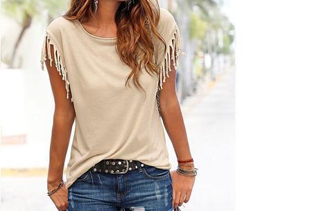 Fringe t-shirt | Verkrijgbaar in 8 verschillende kleuren Beige