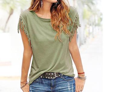 Fringe t-shirt | Verkrijgbaar in 8 verschillende kleuren Legergroen