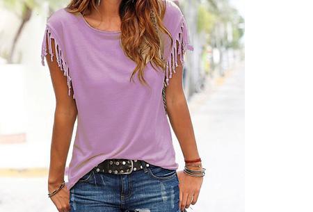 Fringe t-shirt | Verkrijgbaar in 8 verschillende kleuren Paars