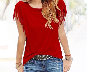 Fringe t-shirt | Verkrijgbaar in 8 verschillende kleuren Rood