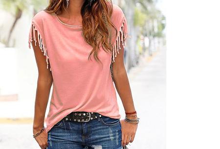 Fringe t-shirt | Verkrijgbaar in 8 verschillende kleuren Roze