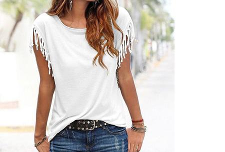 Fringe t-shirt | Verkrijgbaar in 8 verschillende kleuren Wit