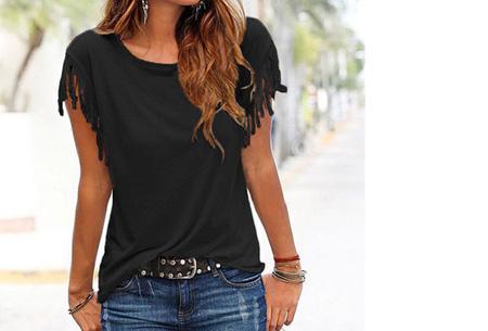 Fringe t-shirt | Verkrijgbaar in 8 verschillende kleuren Zwart