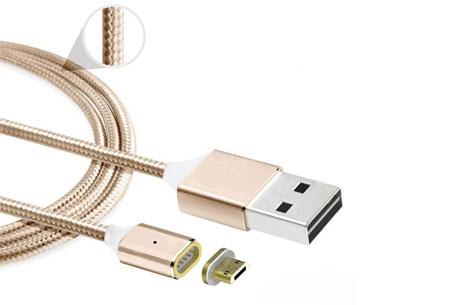 Magnetische oplaadkabel 2.0 | Geschikt voor iPhone 5 of hoger & Micro USB + type C Goudkleurig