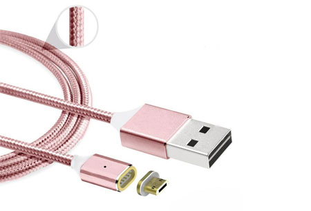 Magnetische oplaadkabel 2.0 | Geschikt voor iPhone 5 of hoger & Micro USB + type C Rosèkleurig