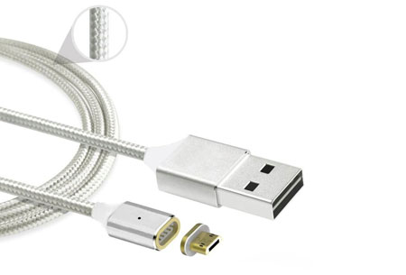 Magnetische oplaadkabel 2.0 | Geschikt voor iPhone 5 of hoger & Micro USB + type C Zilverkleurig