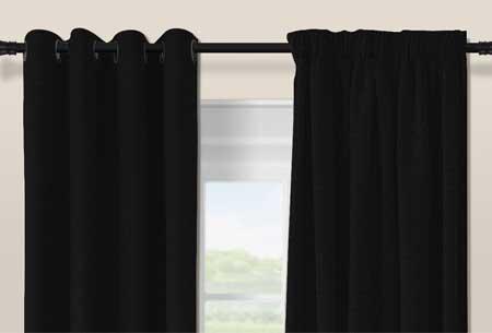 Geweven verduisterende gordijnen Black - Haken - 300 x 250 cm