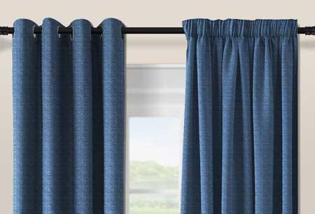 Geweven verduisterende gordijnen Dark Blue - Ringen - 300 x 250 cm