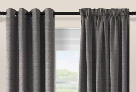 Geweven verduisterende gordijnen Grey - Haken - 300 x 250 cm