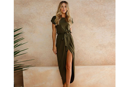 Gorgeous maxi jurk | Basic met sexy touch Legergroen