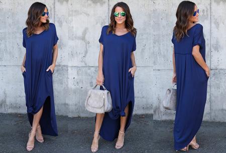 Stylish maxi jurk Maat L -Blauw - Korte mouwen