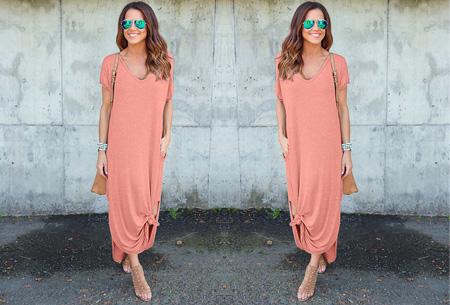 Stylish maxi jurk Maat S - Roze - Korte mouwen