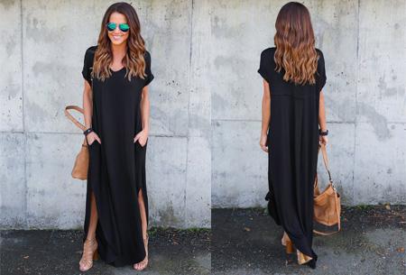 Stylish maxi jurk Maat S - Zwart - Korte mouwen