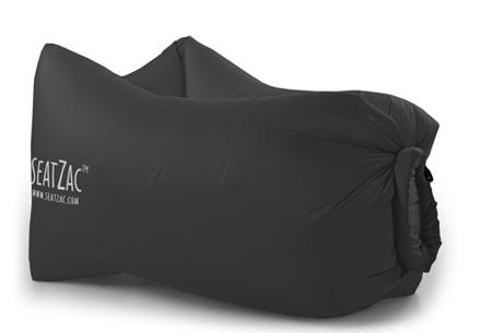 SeatZac zelfopblaasbare chillbag | Binnen no time opgeblazen door er lucht mee te vangen! Classic Black
