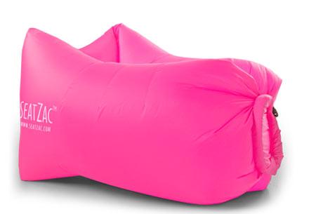 SeatZac zelfopblaasbare chillbag | Binnen no time opgeblazen door er lucht mee te vangen! Candy Pink