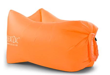 SeatZac zelfopblaasbare chillbag | Binnen no time opgeblazen door er lucht mee te vangen! Sunny Orange