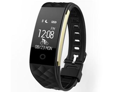 Bluetooth Activity tracker | Monitor je hartslag, beweging, slaap en ontvang pushmeldingen  zwart