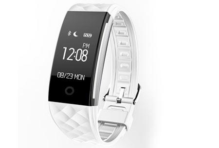 Bluetooth Activity tracker | Monitor je hartslag, beweging, slaap en ontvang pushmeldingen  wit
