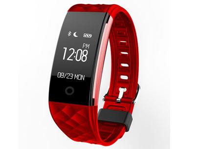 Bluetooth Activity tracker | Monitor je hartslag, beweging, slaap en ontvang pushmeldingen  rood