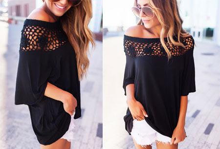 Elegance off shoulder top | Met prachtig gehaakte bovenzijde voor een stijlvolle look! zwart