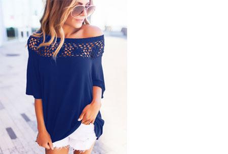 Elegance off shoulder top | Met prachtig gehaakte bovenzijde voor een stijlvolle look! blauw