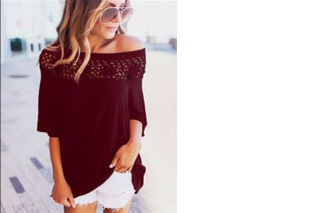 Elegance off shoulder top | Met prachtig gehaakte bovenzijde voor een stijlvolle look! wijnrood
