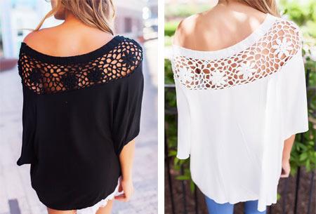 Elegance off shoulder top | Met prachtig gehaakte bovenzijde voor een stijlvolle look!