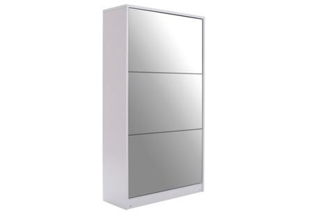 Schoenenkast met spiegel en korting | Stijlvol, praktisch en overzichtelijk! Wit L