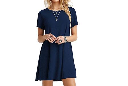 Sophisticated tuniek met korte mouw | Stijlvol, chique en vrouwelijk! Donkerblauw