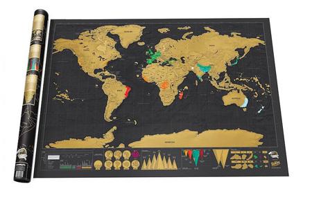 Wereld kraskaart | Kras aan in welke landen jij geweest bent!  Zwart