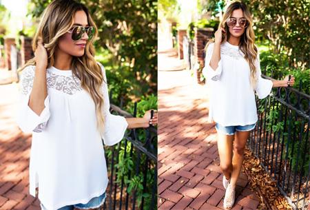 Lace blouse | Stijlvol, trendy en op & top vrouwelijk Wit