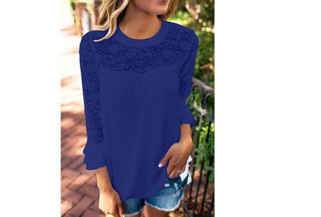 Lace blouse | Stijlvol, trendy en op & top vrouwelijk Blauw