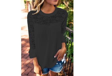 Lace blouse | Stijlvol, trendy en op & top vrouwelijk Zwart