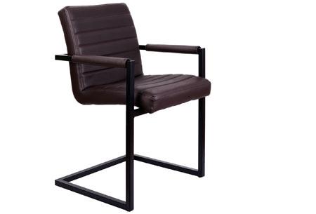 Lederen Conference stoelen | Strak industrieel ontwerp & hoogwaardige materialen donkerbruin